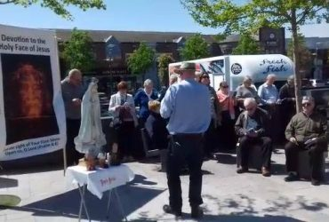 Prayer and fasting in action. Group of the faithful in Navan praying a public no…